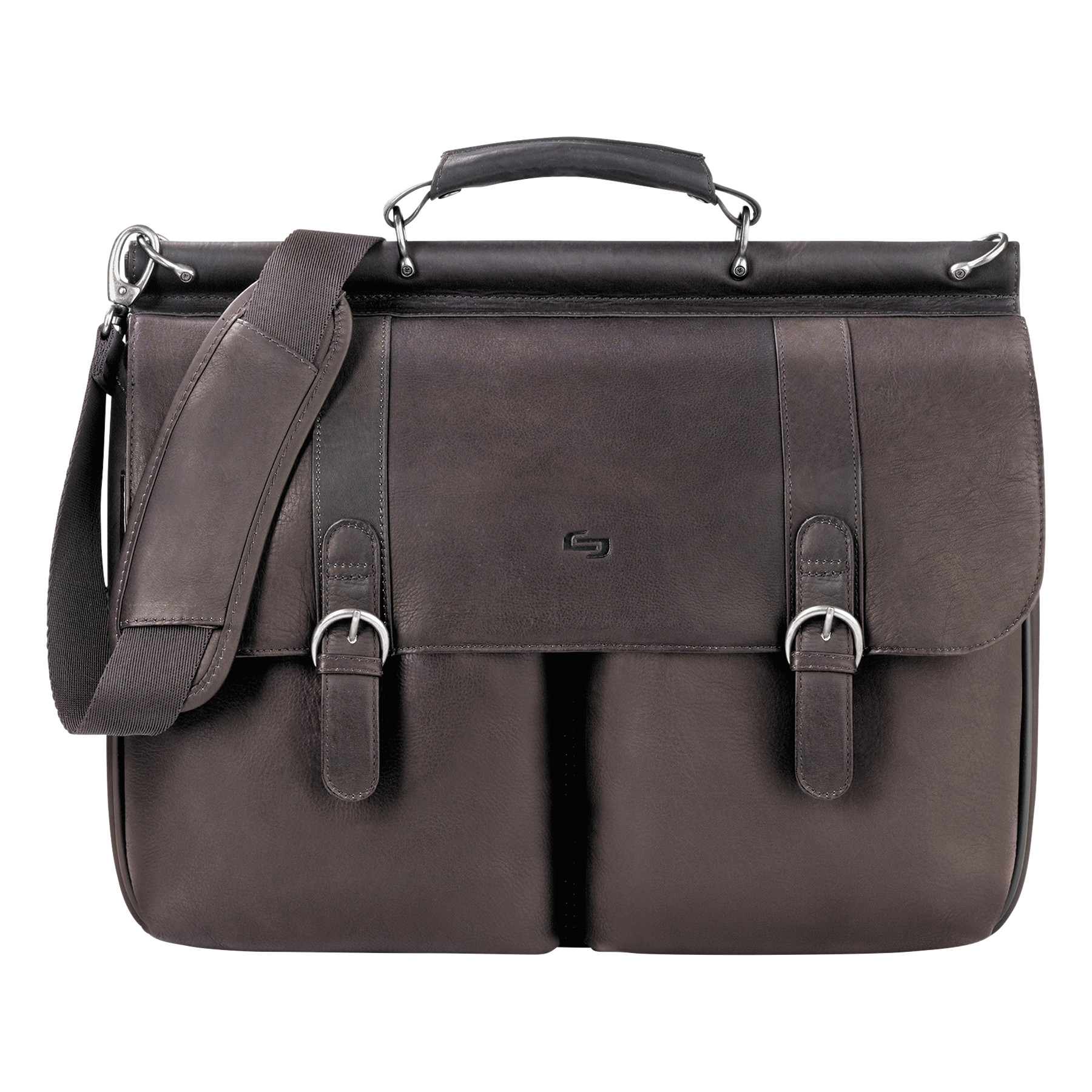"Solo Executive Leather Briefcase, 16"", 16 1/2"" x 5"" x 13"", Espresso"
