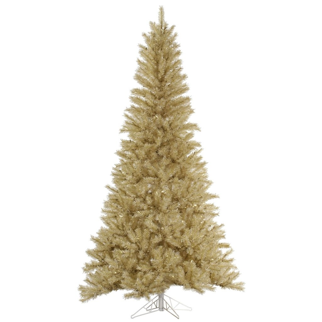 "Vickerman 33069 - 4.5' x 27"" White / Gold Tinsel Christmas Tree (A148045)"