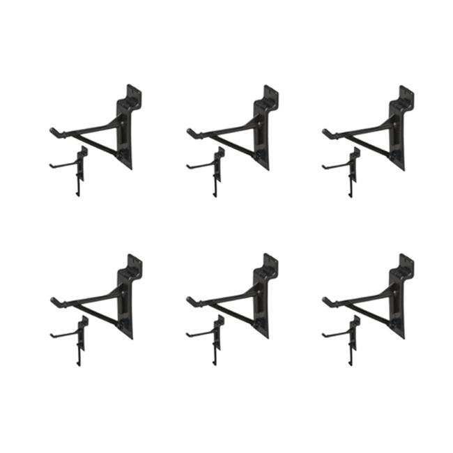 Jifram Extrusions 01100646 Easy Living Easy Wall Bag of Six 3 inch Black Plastic Slatwall Hooks with Removable Gussett