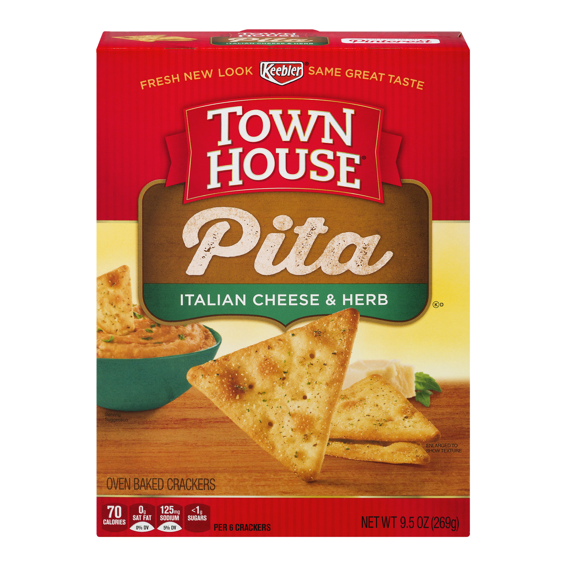 Keebler Town House Oven Baked Crackers Pita Italian Cheese & Herb, 9.5 OZ