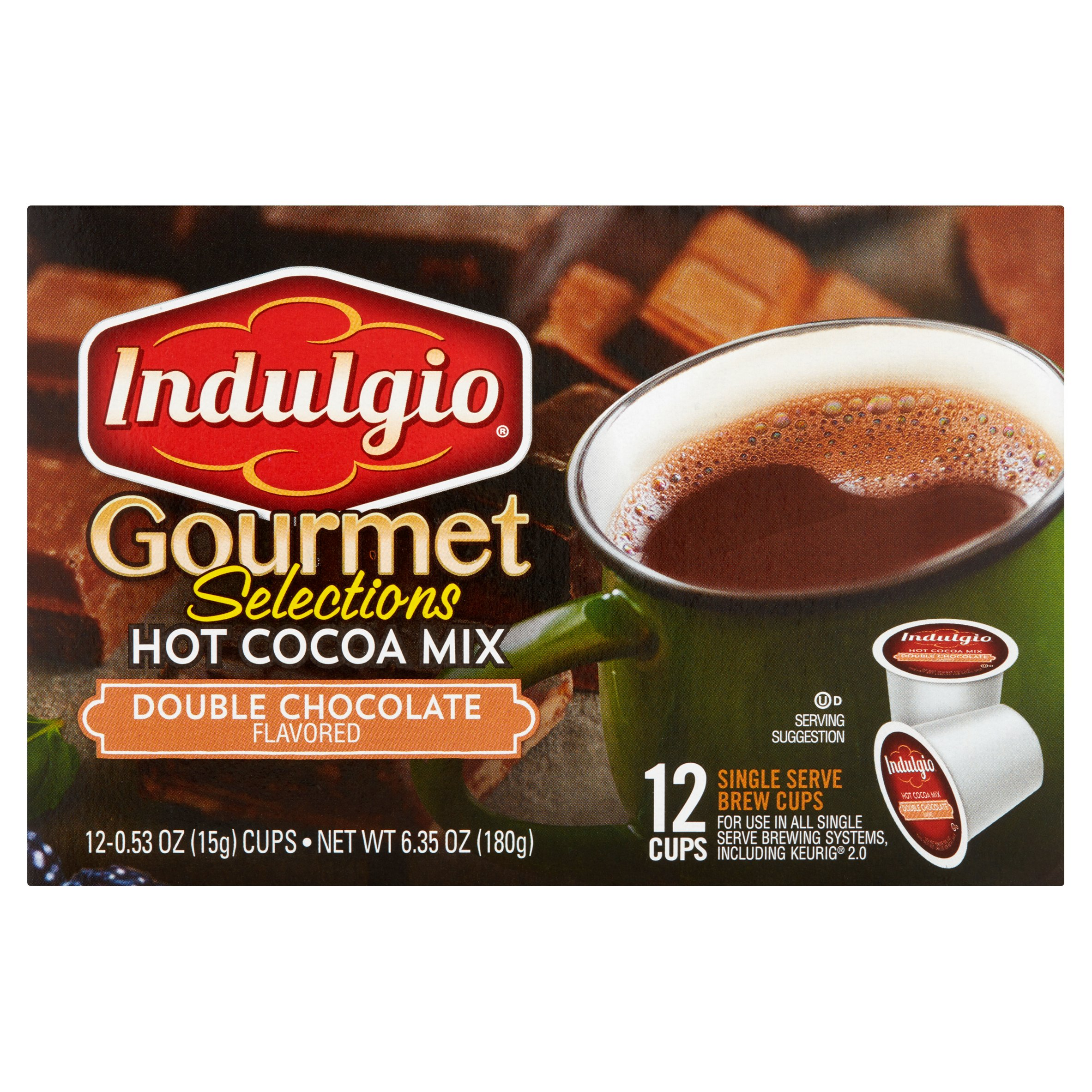 Indulgio Gourmet Selections Double Chocolate Flavored Hot Cocoa Mix, 0.53 oz, 12 count