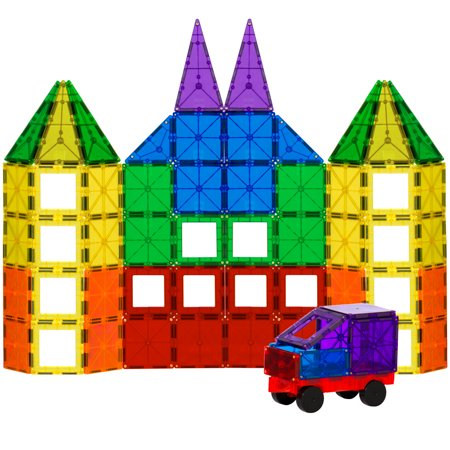 Best Choice Products 100-Piece Transparent Rainbow Magnetic Building Geometric Tiles w/ Wagon and Carrying Case -