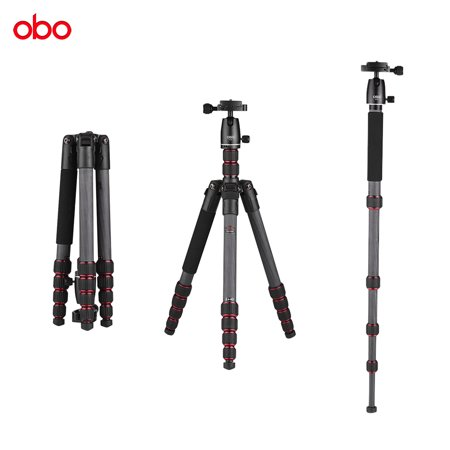 OBO TS360C Foldable Portable Carbon Fiber Camera Tripod Travel Tripod Monopod with B262 Panoramic Ball Head 5 Sections Max Working Height 150cm for Canon Nikon Sony DSLR ILDC Cameras Max Load 10kg ()