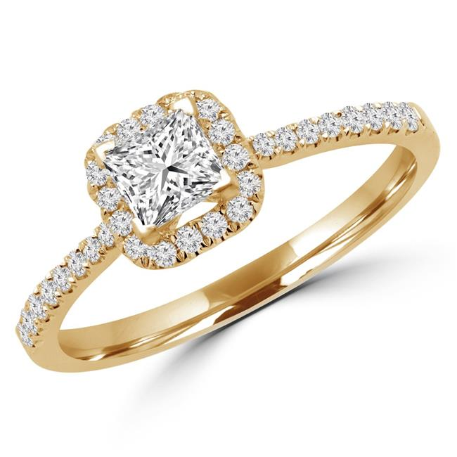 Majesty Diamonds MD170345-3.25 0.5 CTW Princess Diamond Halo Engagement Ring in 14K Yellow Gold, Size 3.25
