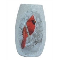 "Stony Creek - Frosted Glass - 5"" Lighted Vase - Cardinal in Winter Snow Scene"