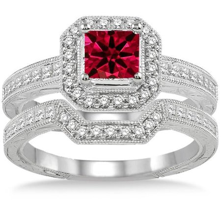 Ruby Wedding Rings.2 Carat Princess Cut Real Ruby And Diamond Bridal Wedding Ring Set With Engagement Ring And Wedding Band In 18k Gold Over Silver