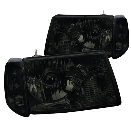 Spec-D Tuning For 2001-2011 Ford Ranger Smoke Crystal Headlights + Corner Lights Turn Signal Lights 2001 2002 2003 2004 2005 2006 2007 2008 2009 2010 2011 (Left+Right)