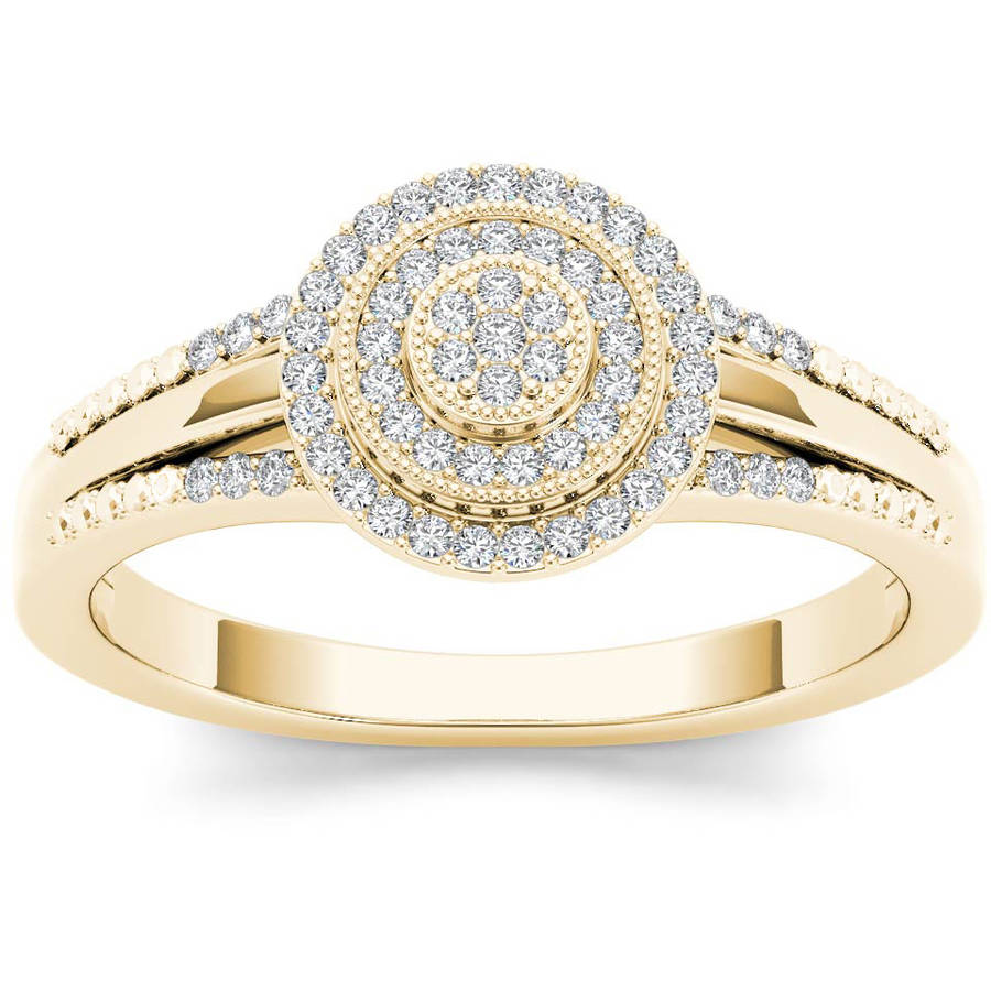 Imperial 1/6 Carat T.W. Diamond Split Shank Cluster Double Halo 10kt Yellow Gold Engagement Ring