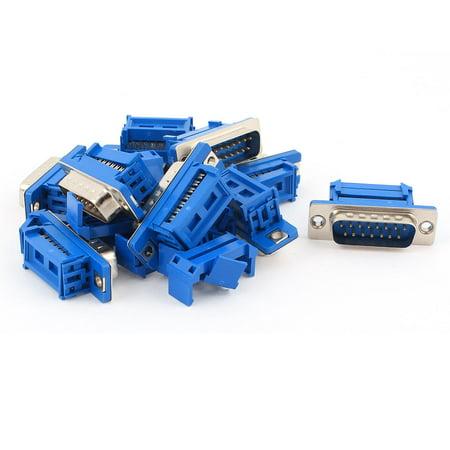 Unique Bargains 10pcs D-SUB DB15 15 Pin Male IDC Type Crimp Connector for Flat Cable