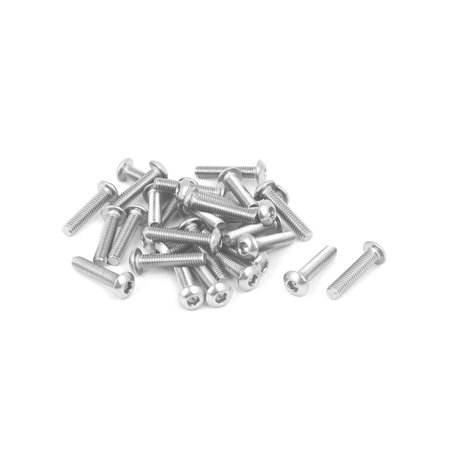 M3x14mm 316 Stainless Steel Fully Thread Button Head Hex Socket Cap Screw 30pcs - image 2 of 2