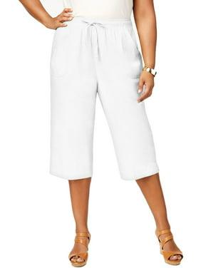 Karen Scott Womens Plus Tummy Control Comfort Waist Capri Pants