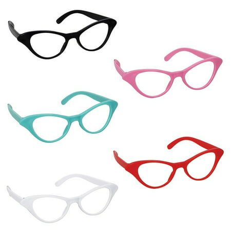 50s Cat-Style Assorted Glasses (10 Count)