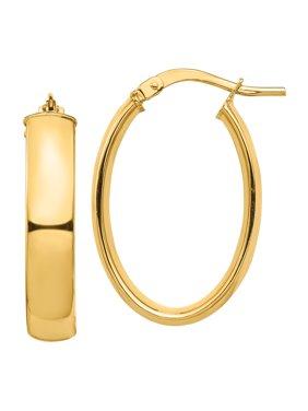 14k High Polished 5mm Oval Hoop Earrings