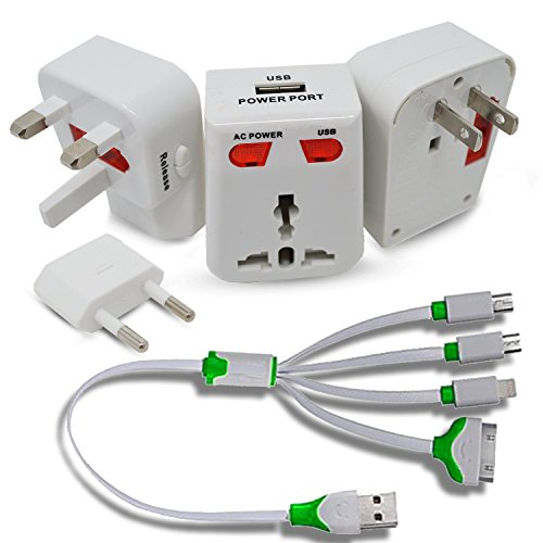Universal Travel World Wide Charger Adapter Plug With USB, White + 4 in 1 Cable Connector With Micro USB, Mini USB, Lighting 30 Pin, for iPhone 6, 5, 4, iPad 4,3,2,Air,Galaxy S, Android Phones, More