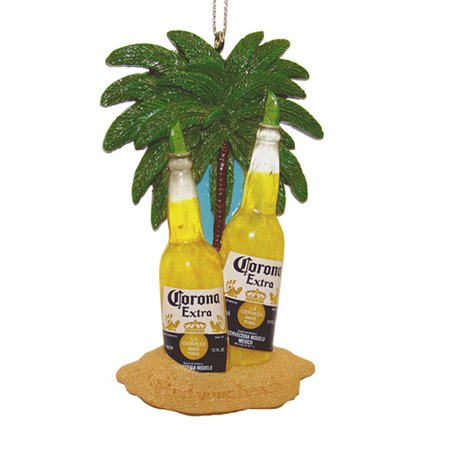 Corona Beer Bottles With Limes Under Palms On Beach Christmas Holiday