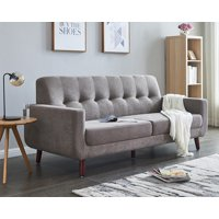 """Small Spaces Sectional Couch, Mid Century Modern Fabric Loveseat Sofas, Rolled-Arm Upholstered Sofas with Solid Wood Frame, Brown Tufted Loveseat Sofa Couch for Living Room and Office, 79""""W, L1144"""
