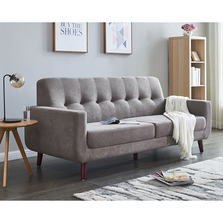 Clearance Brown Couches And Sofa Mid Century Modern Sectional Fabric For Small Es Tufted Sofas With Solid Wood Frame Rolled Arm Loveseat