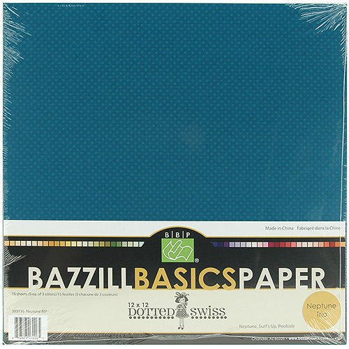 Bazzill Dotted Swiss Trio Multi-Pack 12X12 15/Pkg, Neptune/Surf's Up/Poolside