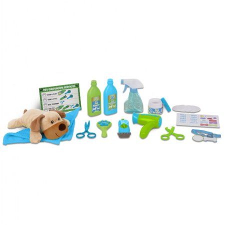Melissa & Doug Feed & Groom Dog Groomer Play Set With Plush Stuffed Animal Dog (20 pcs) - Stuffed Dogs That Look Real