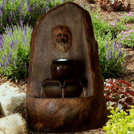 Outdoor Water Fountain With LED Lights- Lighted 3 Tier Lion Head Rock Fountain With Soothing Sound for Patio, Lawn and Garden Decor By Pure Garden