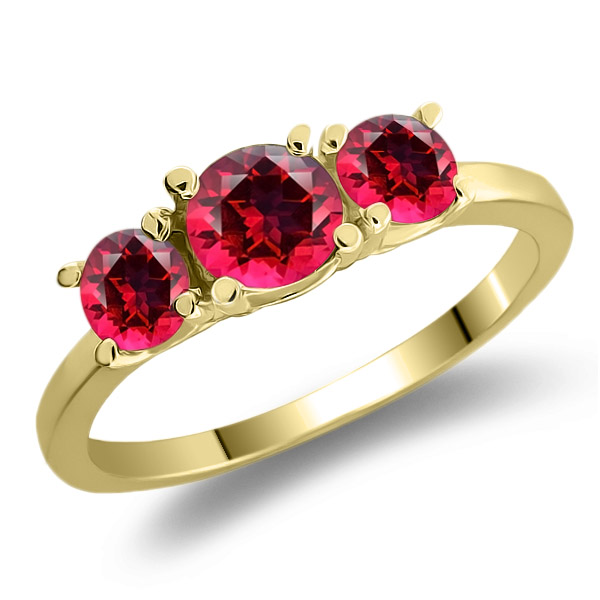 925 Yellow Gold Plated Silver Ring Set with Blazing Red Topaz from Swarvoski by