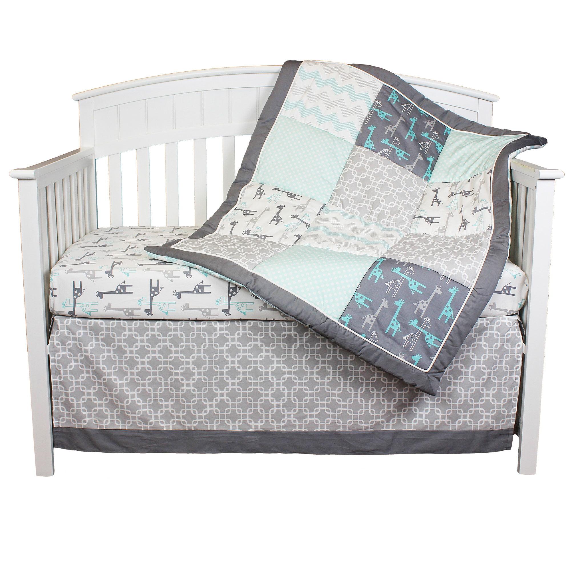 The Peanut Shell Crib Bedding Set Grey And Aqua Uptown Giraffe 4 Piece Baby Collection