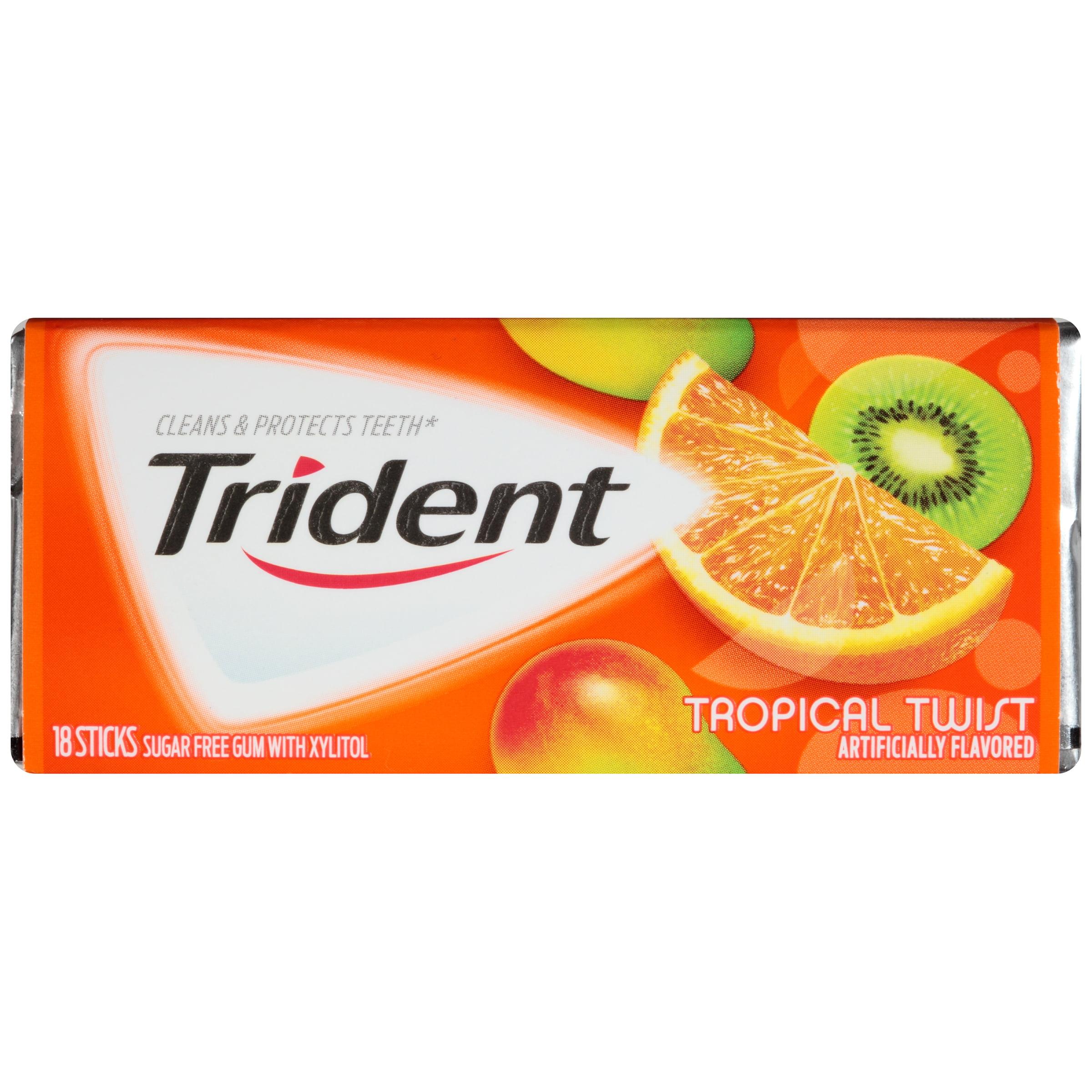 Trident Sugarless Chewing Gum Val-U-Pak, Tropical Twist Sticks, 12X18 Ea