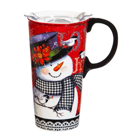 Ceramic Travel Cup w/Silicone Paint Handle & Tritan Lid, 17 oz. w/Box, Houndstooth Snowman - Snowman Out Of Cups