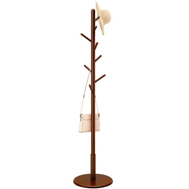 ANGRIA Free Standing Coat Rack, Wooden Coat Hat Tree Coat Hanger