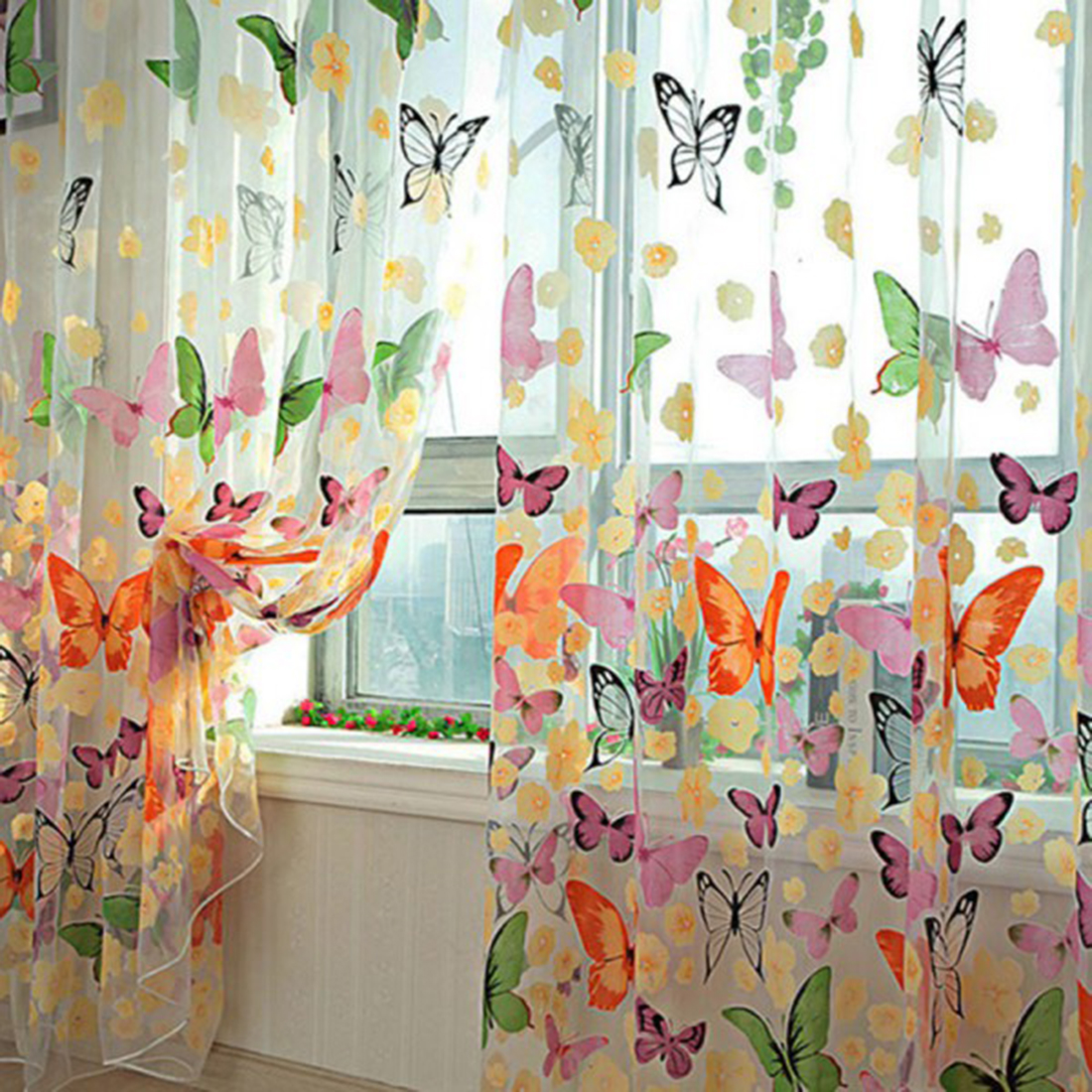 Curtain Panel Offset Print Window Door Curtains Drapes Panels Sheer Voile  Tulle Butterfly Pattern Shade Curtain
