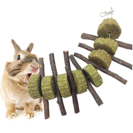 Bunny Chew Toys for Teeth, Organic Apple Wood Molar Sticks Rabbits Improves Dental Health, Pet Snacks Toys with Grass Cake for Rabbits, Chinchilla, Hamsters, Guinea Pigs and Other Small Animals