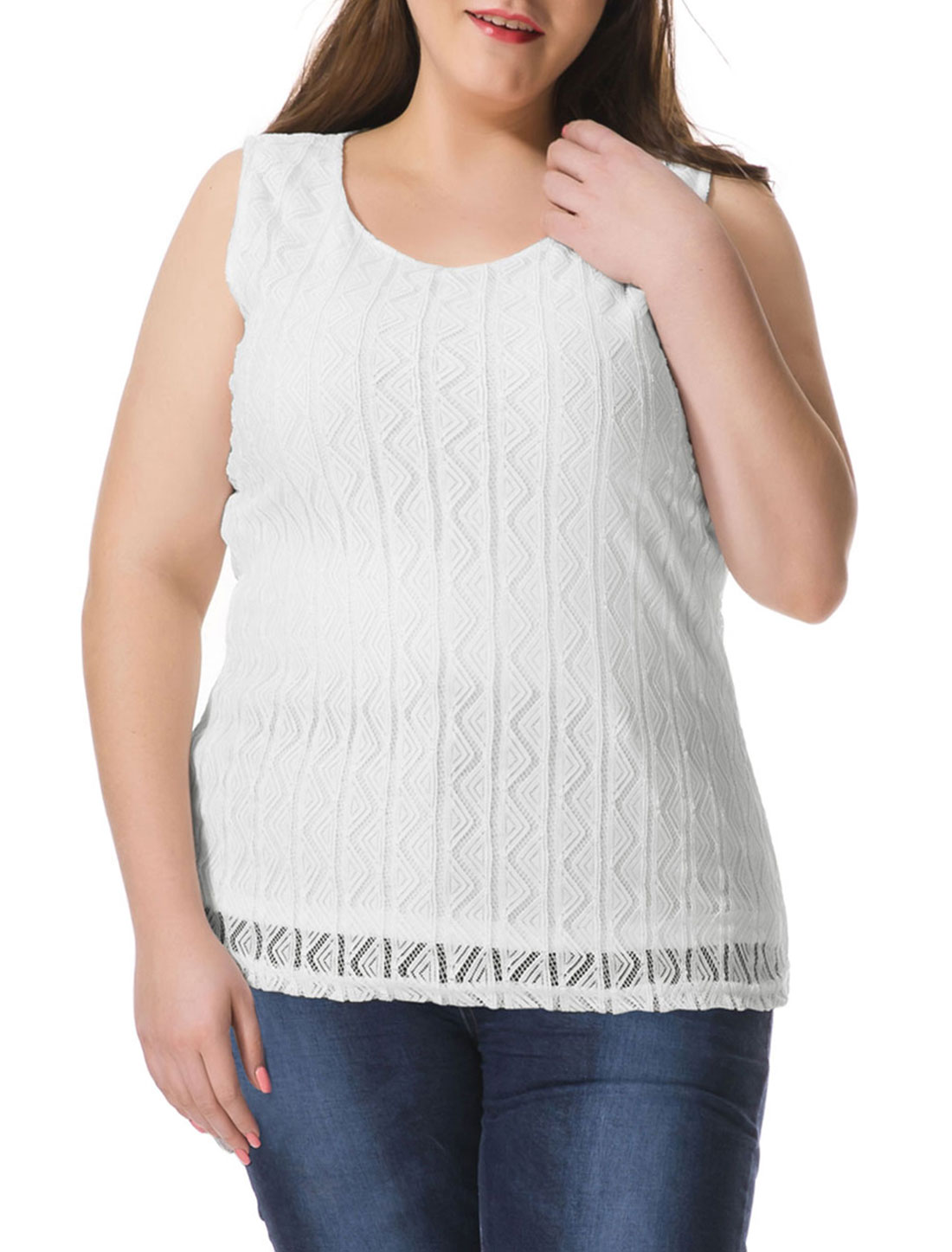 Unique Bargains Women's Plus Size Hollow Triangle Sleeveless Blouse White (Size 3X)