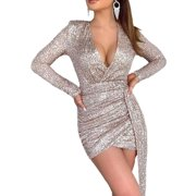 Women's Sequin V Neck Wrap Bodycon Long Sleeve Party Prom Clubwear Mini Dress