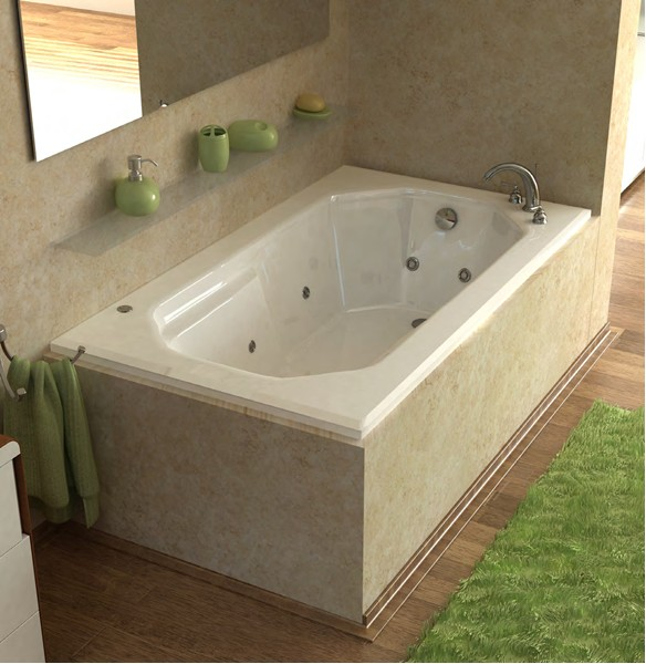 Atlantis Tubs 3660MWR Mirage 36 x 60 x 23 Rectangular Whirlpool Jetted Bathtub w/ Right Side Pump Placement