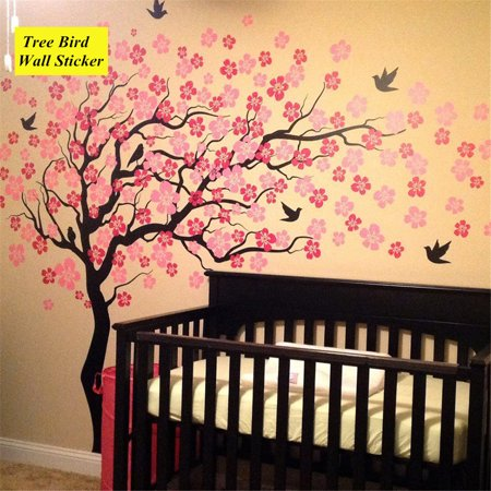 Beautiful Large Wall Tree Wall Decals Flower Cherry Blossom Sticker for Kids Rooms Teen Girls Boys Wallpaper Murals Sticker Wall Stickers Nursery Decor Nursery Decals