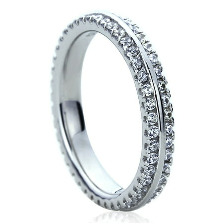 Platinum Pave Set Diamond Band - Women's Platinum Plated Sterling Silver 1ct CZ Two Row Pave Setting Eternity Ring Wedding Bands ( Size 5 to 9 )