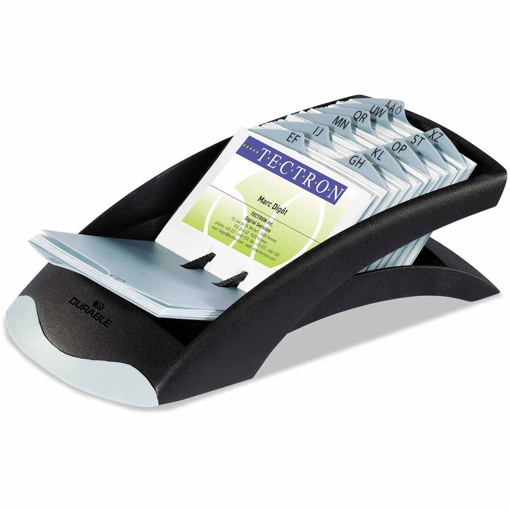 "Durable VISIFIX Desk Business Card File, Holds 200, 4-1/8"" x 2-7/8"" Cards, Graphite/Black"