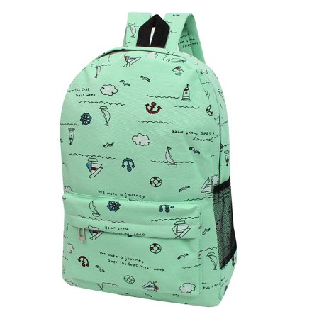 Preppy Style Sail Boat Printing Canvas Charming Backpack Bookbag Green