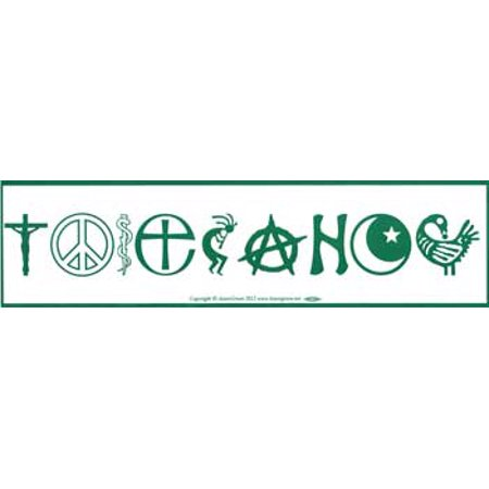 Novelty Amusement Toys Bumper Stickers Tolerance Various Faith Religious Symbols - Religious Novelties