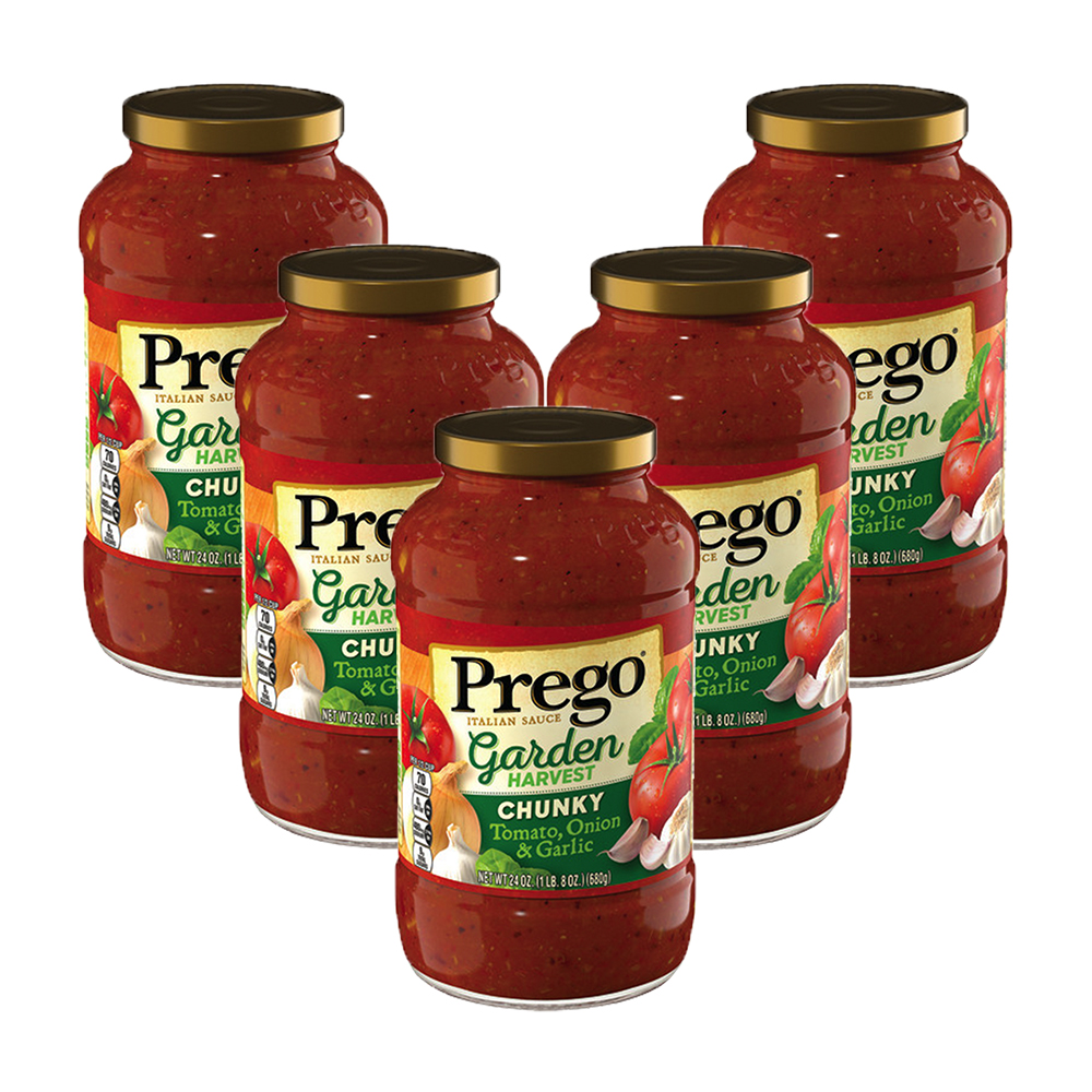 (5 Pack) Prego Garden Harvest ChunkyTomato, Onion & Garlic Italian Sauce, 24 oz.