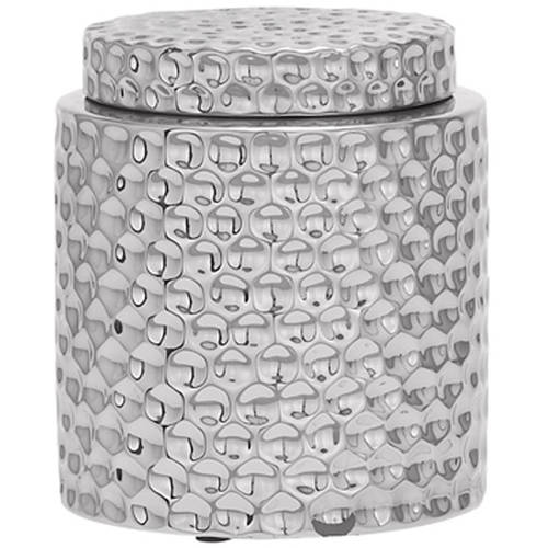 Decmode Modern 8 X 7 Inch Silver Ceramic Jar with Lid