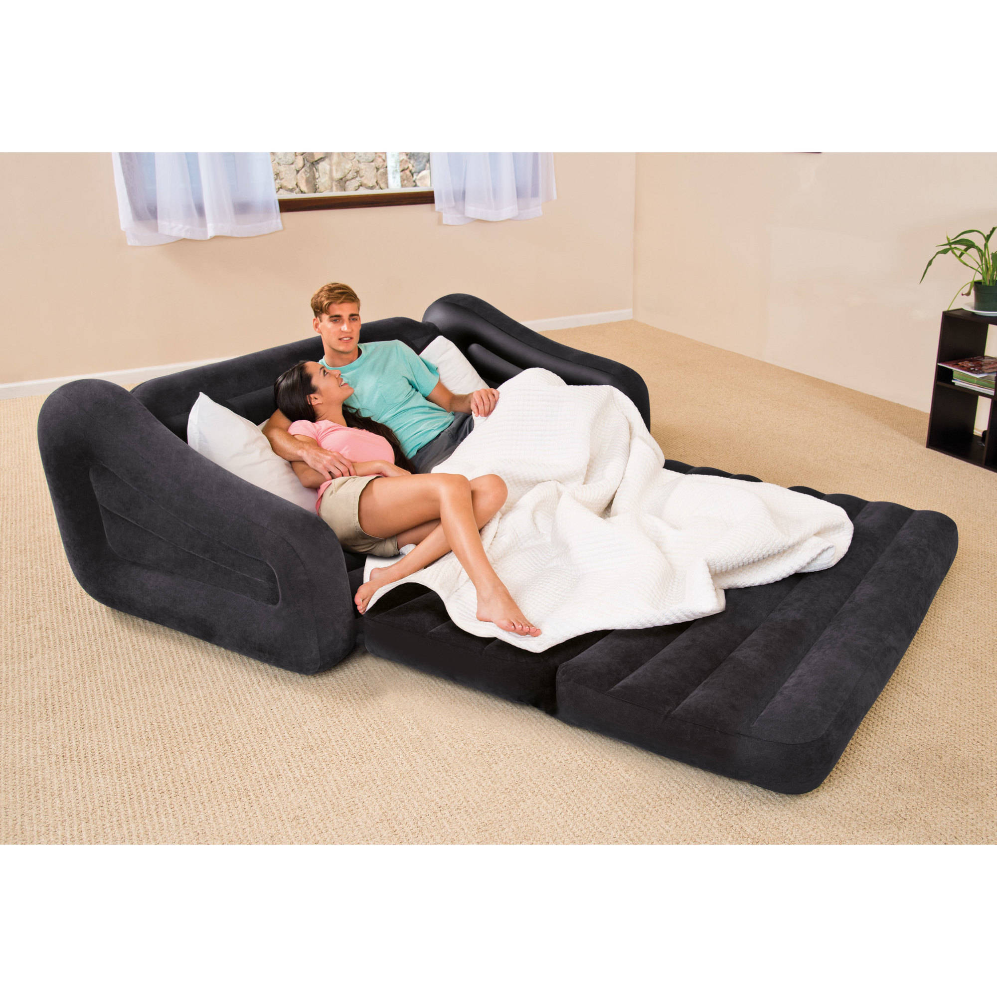 Inflatable pull out air sofa bed mattress sleeper blow up for Sectional sofa with pull out bed and recliner