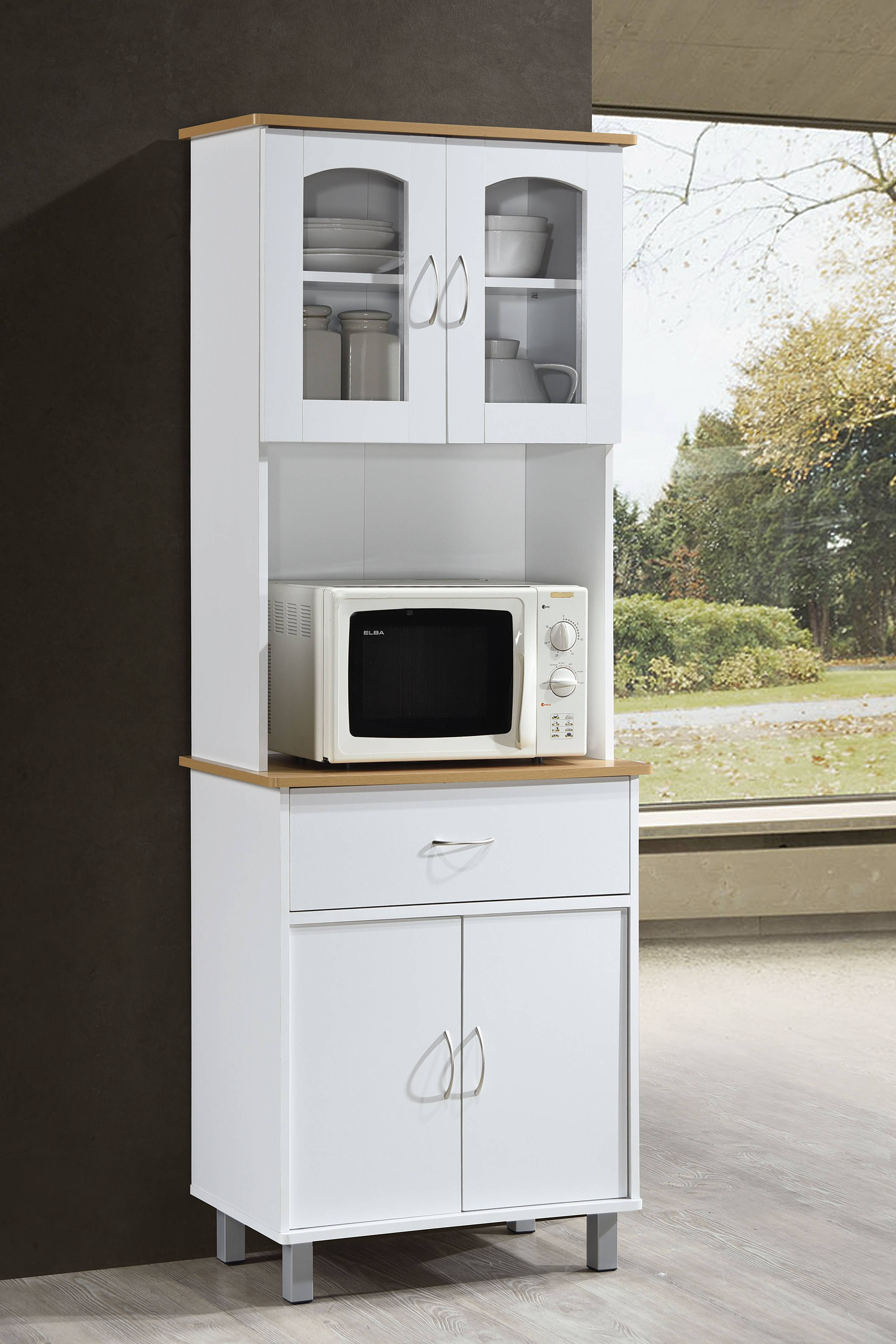 Hodedah Free Standing Kitchen Cabinet White Walmart Com Walmart Com