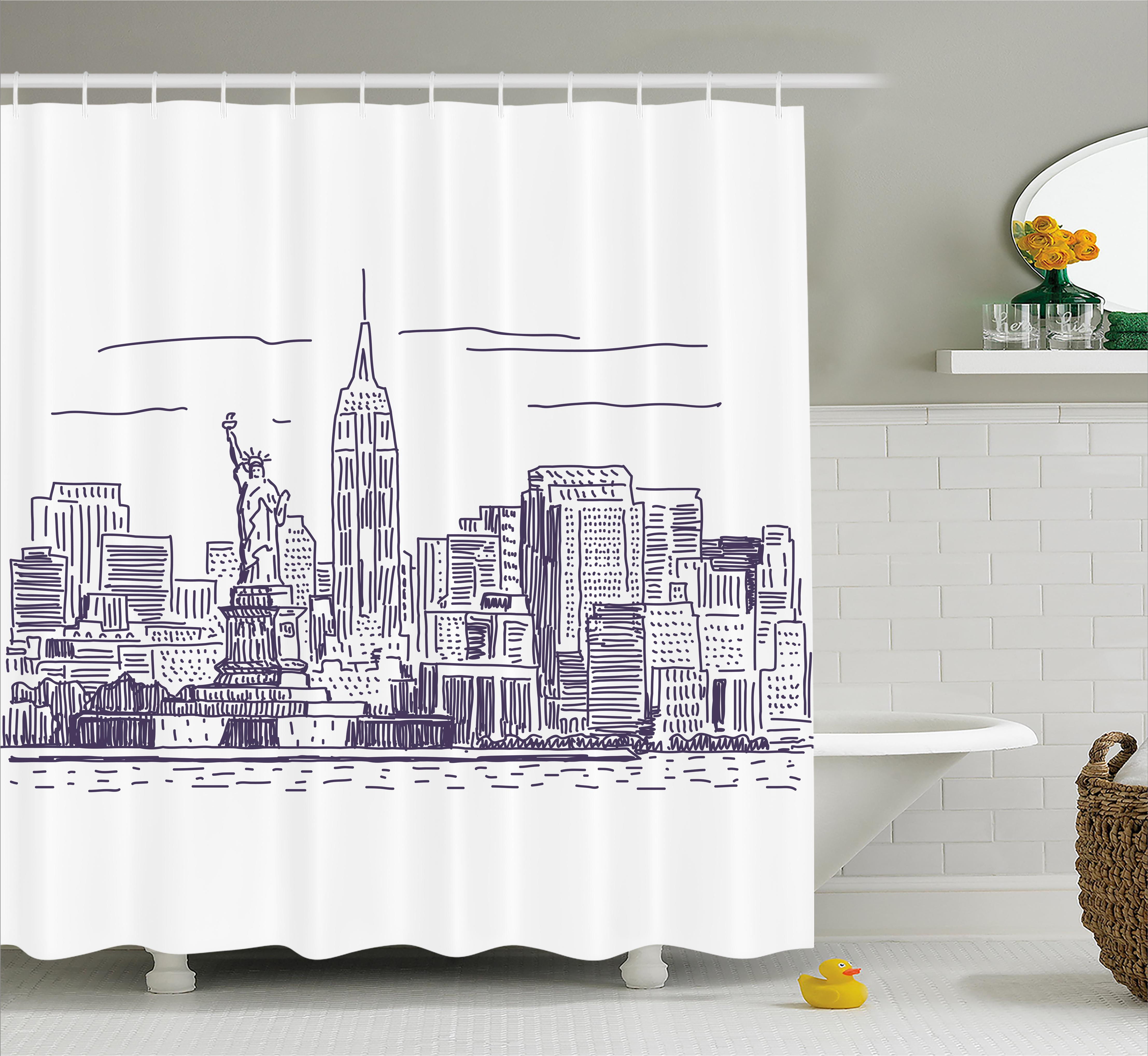 New York Shower Curtain, Sketchy Simple View Of NYC Statue Of Liberty  Freedom Symbol Ellis