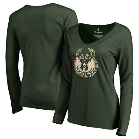 Milwaukee Bucks Fanatics Branded Women's Primary Logo V-Neck Long Sleeve T-Shirt - Green Milwaukee Bucks Gear