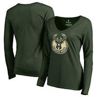 Milwaukee Bucks Fanatics Branded Women's Primary Logo V-Neck Long Sleeve T-Shirt - Green