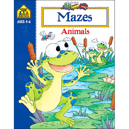 School Zone Activity Workbooks 32 Pages-Mazes Animals Ages 4-6