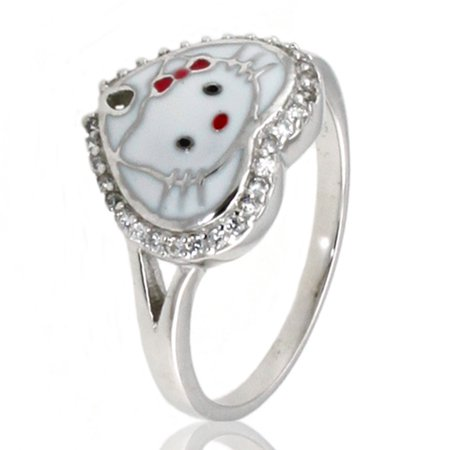 Sterling Silver Cubic Zirconia Spade Hello Kitty Promise Ring