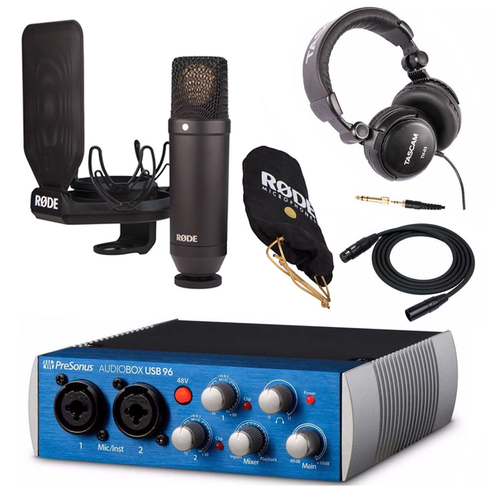 Rode NT1 Kit Cardioid Condenser Microphone + 2x2 USB Audio Interface + Accessory Bundle
