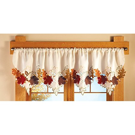 Maple leaf decorative fall window valance for Fall into color jewelry walmart